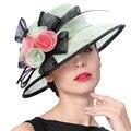 Junio de joven mujer sombreros de colores estampado de flores señora elegante de moda de verano sombreros de Sun de Color menta fresca 100% Sinamay Derby sombreros de ala
