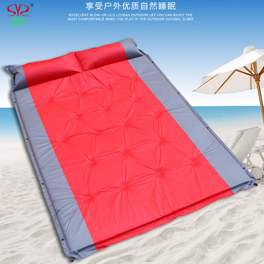 Double automatic inflatable mattress camping mat PVC outdoor Big thickened folding mat with pillow 3 colors 2016 NEW fast ship