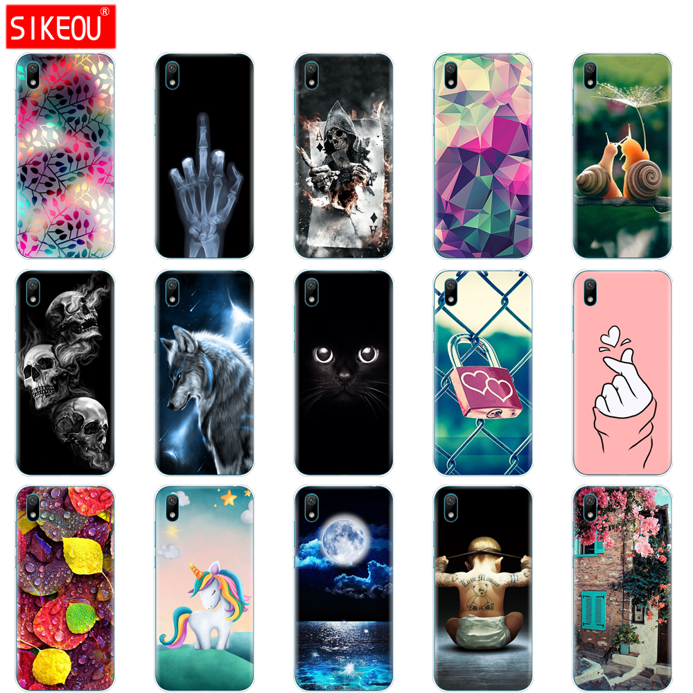 Bumper Phone-Case Back-Cover Cat-Flower Huawei Y5 for Silicone TPU Soft