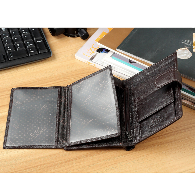 Men Wallets 2016 Fashion Designers Famous Brand Brown Genuine Leather Money Pocket Men Purses Wallet Credit Card Passport Holder