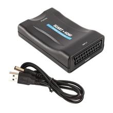 SCART to HDMI 비디오 오디오 고급 컨버터 1080P SCART 입력 HDMI 출력 어댑터, 스카이 블루 레이 플레이어 HDTV DVD