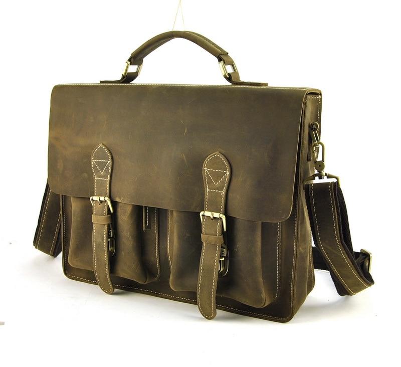 Men Vintage Genuine Leather Briefcase Laptop Work Shoulder Bag Messenger Busines Cross Body Satchel Daily Work Bags