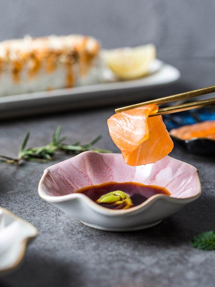 EECAMAIL glaçure de four de Style japonais | Plat de Type fleur, vaisselle en céramique plat à Sauce, petite assiette à Snack 6 pièces