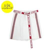 BiSHE A Line Denim Skirts With Belt Printed Letter Black Denim Shorts Jeans Female High Waist
