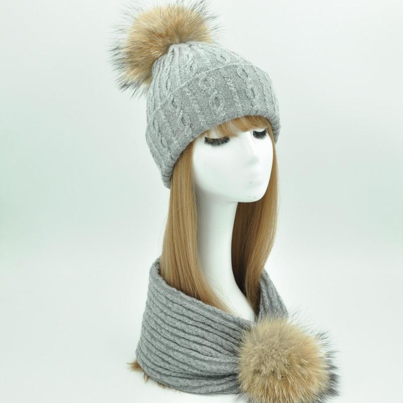 758fd3f6538 Women Winter Hat and Scarf Set Fashion Cashmere Real Fur Pompom Hat Scarf  Female Warm Wool