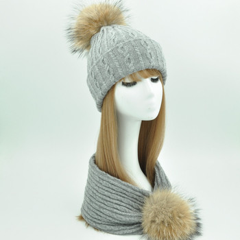 Women Winter Hat and Scarf Set Fashion Cashmere Real Fur Pompom Hat Scarf Female Warm Wool Knitted Hat Cap and Scarves Set Women