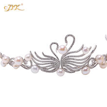 JYX 2019 Elegant Pearl Crown Freshwater Pearl Beads Swan Queen Princess Crown Rhinestone Crystal Bridal Crowns Headband(China)