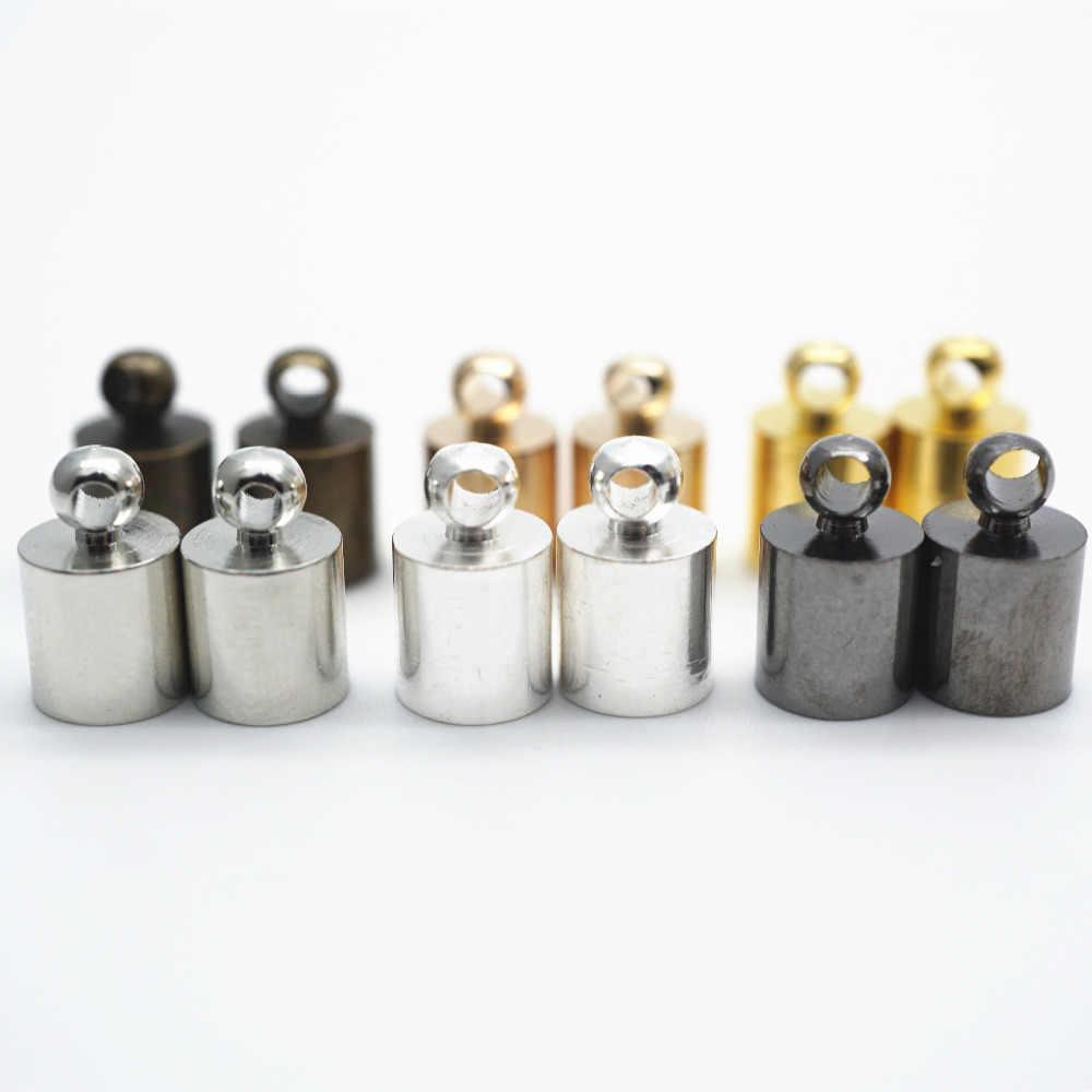 50 قطعة عقد دي اي واي القرط نهاية تلميح قبعة صالح لل 4-9 مللي متر شرابة الجلود الحبل نهاية تجعيد قبعات الخرز قبعات لصنع المجوهرات HK013