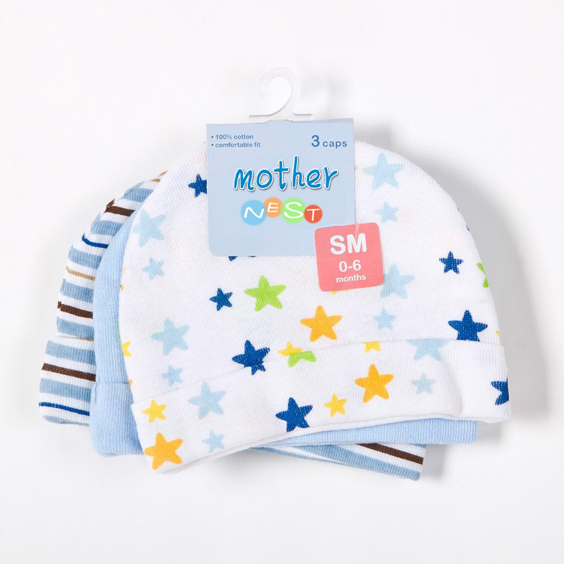 Mother Nest 3pcslot Baby Hats PinkBlue Star Printed Baby Hats & Caps for Newborn Baby Accessories (3)