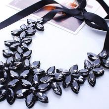 Fashion European Big Rhinestone Crystal Flowers Pendants Choker Necklaces Black Ribbon Chain Statement Bib Necklaces For Women