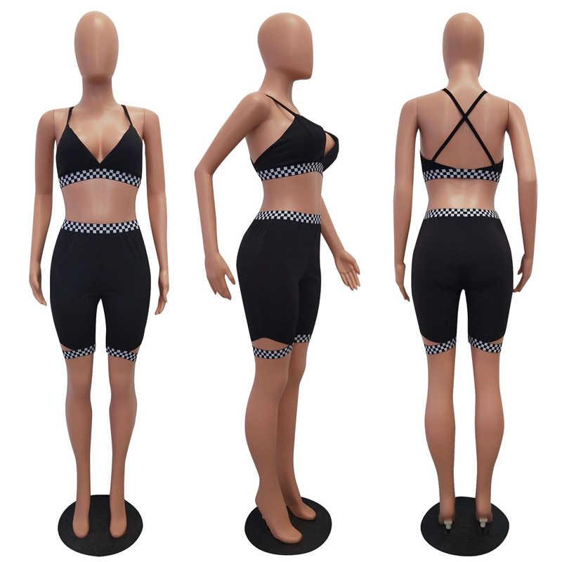 Adogirl, Женский комплект из двух предметов, клетчатый спортивный костюм с бюстгальтером, топ и шорты, женский спортивный костюм, летние Клубные костюмы, спортивная одежда