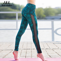 Fashion New Stripe Mesh Patchwork Women Pants Sport Leggings Fitness Summer Print Dry Quick Force Exercise