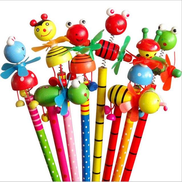 48pcs/lot School Students Prize Children Cartoon Animal HB Wooden Pencil Christmas Birthday Promotion Gift