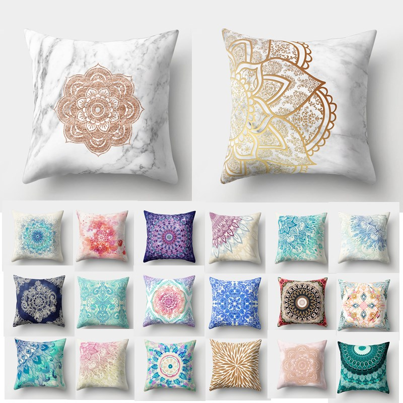 1Pcs Mandala Pattern Polyester Throw Pillow Living Room Cushion Cover Car Decor Home Decoration Sofa Decorative Pillowcase 40508