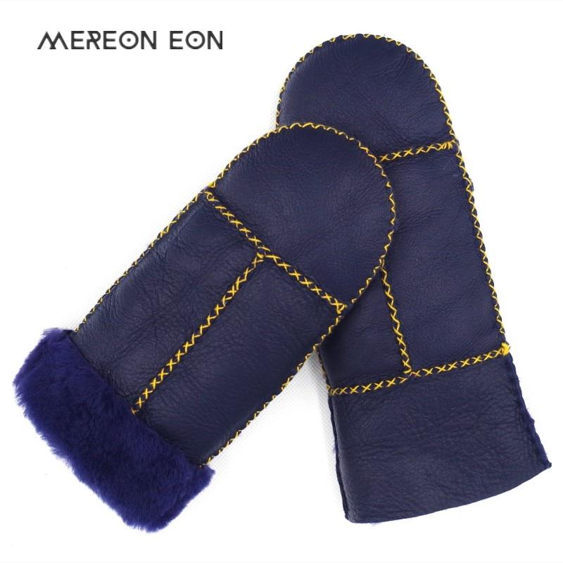 2018 Winter Fashion Women's Gloves Natural Real Sheepskin Women's Fur Gloves Warm Soft Stitching Pattern Thick Ladies Fur Gloves