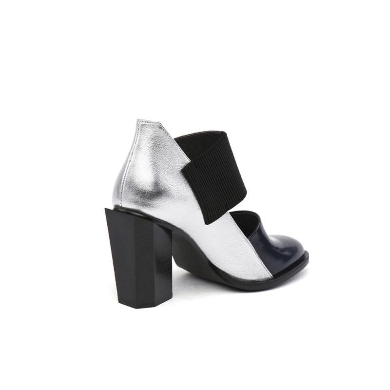 여성 신발 높은 뒤꿈치 플랫폼 라운드 발가락 혼합 된 색상 정품 가죽 실린더 높은 뒤꿈치 가을 신발 여성 펌프 hl87 muyisexi-에서여성용 펌프부터 신발 의  그룹 3