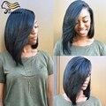 Melhor Qualidade Malaio Bob Cut Perucas Reta Curta Cheia Do Laço Humano Perucas de cabelo Para As Mulheres Negras Glueless Parte Dianteira Do Laço Perucas de Cabelo Humano