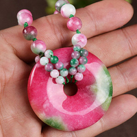 Selling Jewelry>>> Natural Taiwan colorful jadeite peach donut pendant pendant necklace wild Korean sweater chain
