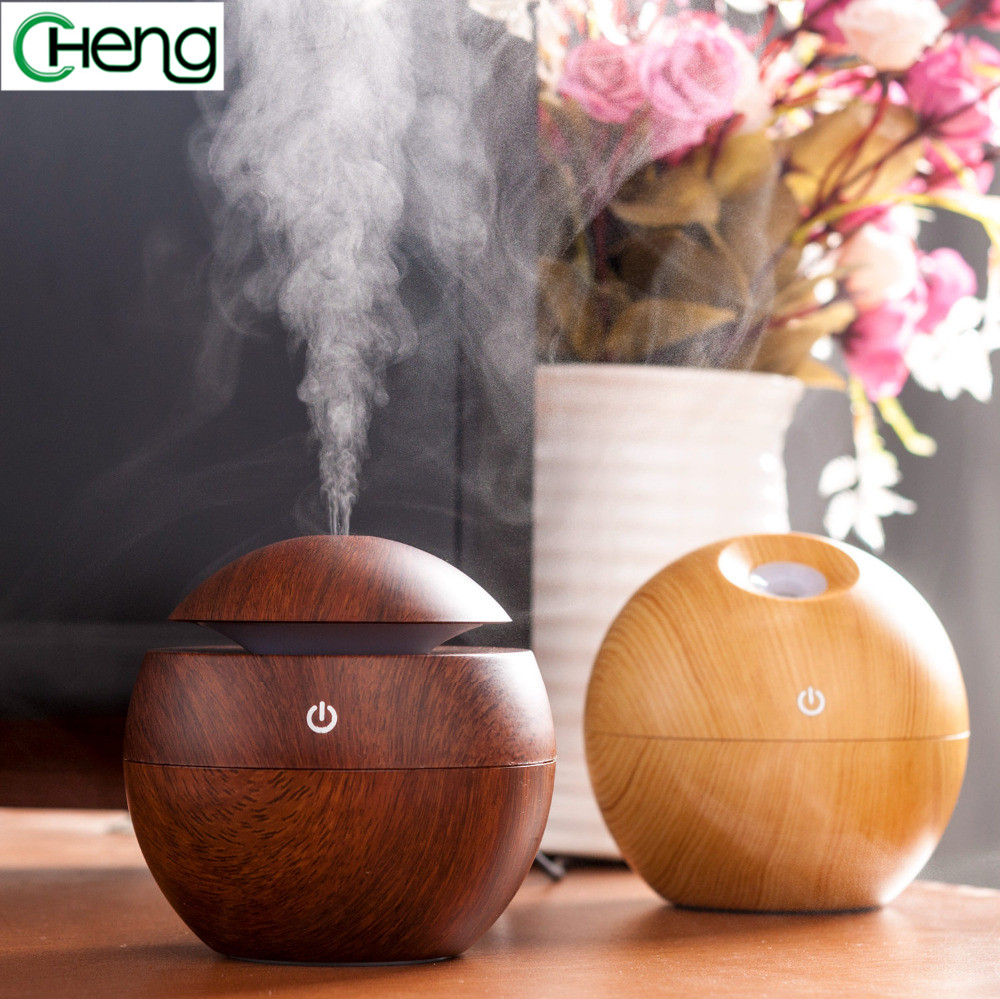 USB Aroma Essential Oil Diffuser Air Humidifier Purifier Mini Portable Exquisite Wood Grain Atomizer night light for Office Home