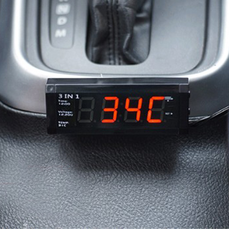 Car Auto Electronic Clock Car Thermometer Luminous Watch Adornment Decoration