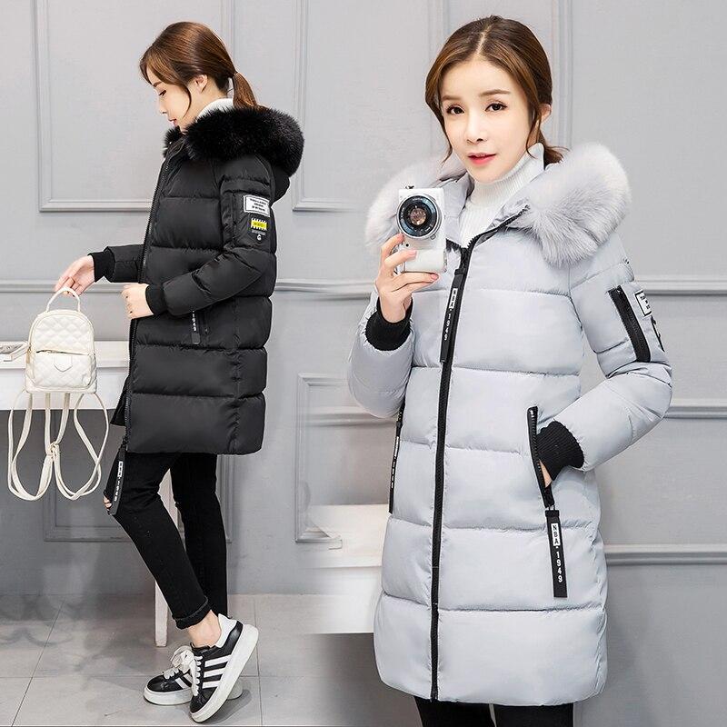 2017 Free Shipping New Autumn Winter Coat Fashion Slim Fur Collar Down Cotton Plus Size Black Women Work Wear Clothes