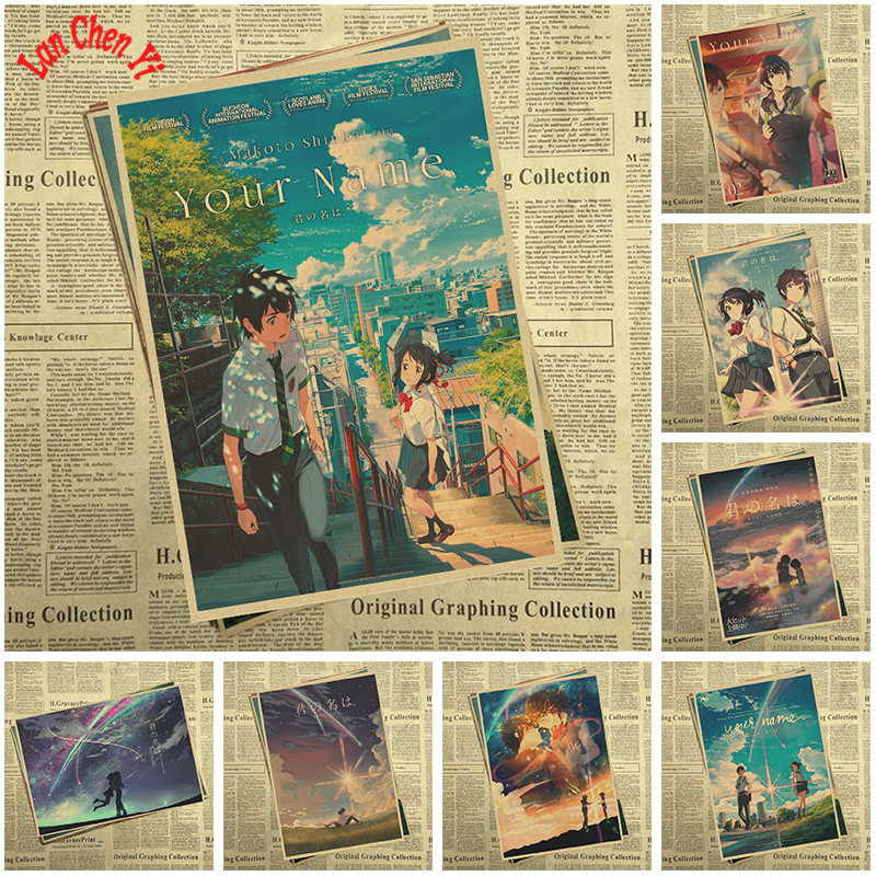 Your Name Japanese Anime Movie Kraft Paper Posters For HD Art Poster Print Home Decor Painting