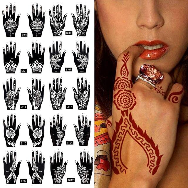 wasserdicht 2 st cke 1 satz tempor re tattoo aufkleber k rper kunst m nner frauen indische henna. Black Bedroom Furniture Sets. Home Design Ideas