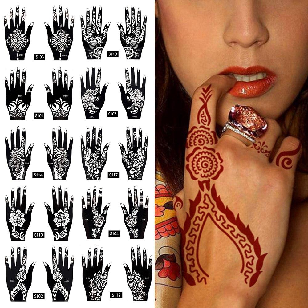 Waterproof 2Pcs/1 Set Temporary Tattoo Sticker Body Art Men Women Indian Henna Pattern Beauty Waterproof Fake Arm Hand Tattoo