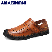 AMAGINMNI Brand 2018 Genuine Leather Summer Soft Male Sandals Shoes For Men Breathable Light Beach Casual
