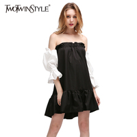 TWOTWINSTYLE 2017 Summer Women Sexy Slash Neck Mini Dresses Flare Evening Party Off Shoulder Lantern Sleeves