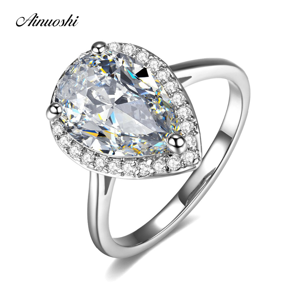 AINUOSHI Teardrop Halo Pear Cut 4 Carats Rings 925 Sterling Silver Women Engagement Brid ...