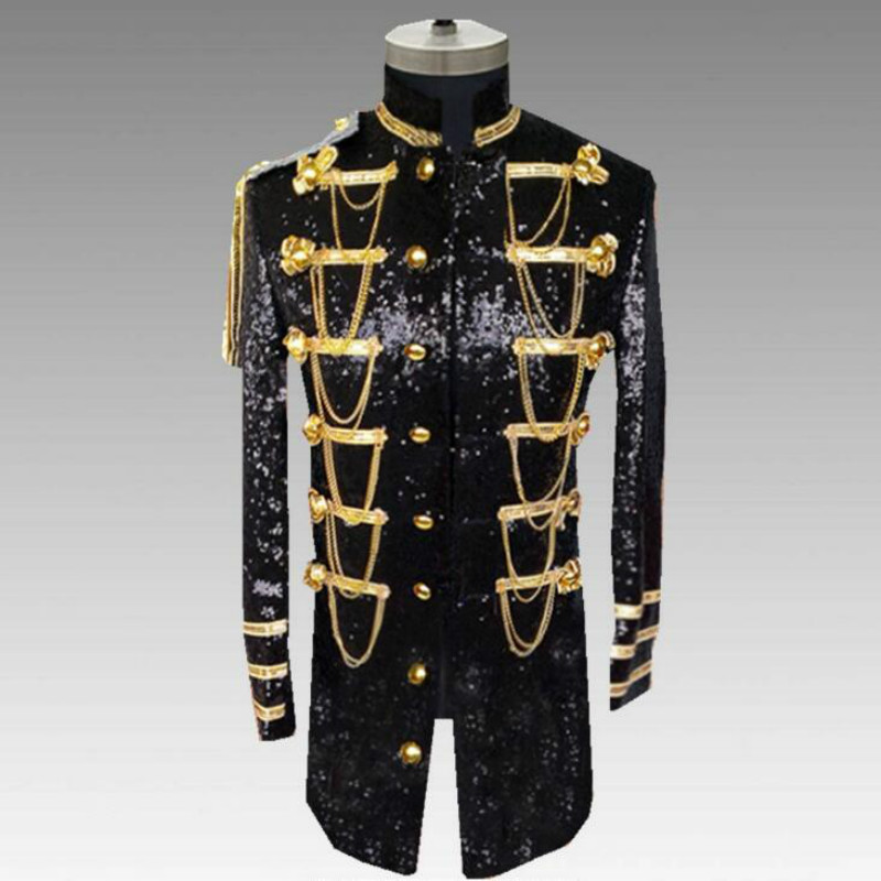 European And American Sequins Uniforms Fashion New Nightclub Costumes Men's Slim Long Section