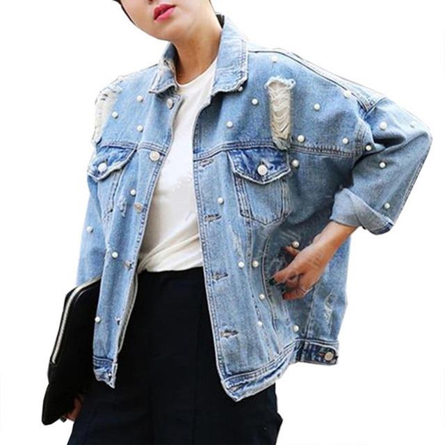 Ocasional solto elegante mulheres primavera outono beading pérolas buraco jean jackets único breasted wide-cintura denim casaco jacekt outwear