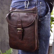 Hot sale high quality Genuine Real Leather Cowhide men fashion Small Messenger Bag Pouch Waist Pack Bag