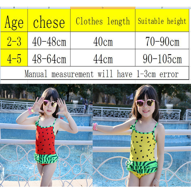cute baby girl swimwear one piece watermelon model 75-100cm/2-5Y girls swimsuit kid/children swimming Suit free shipping