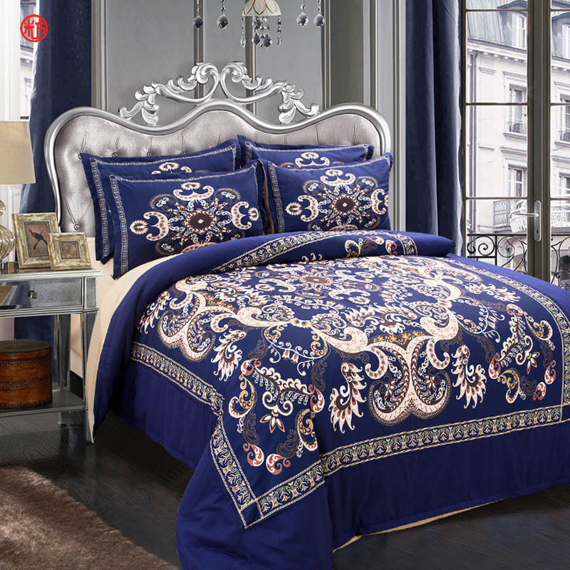 Home Textile Bohe Blue Flower Bedding Set Cat Duvet Cover