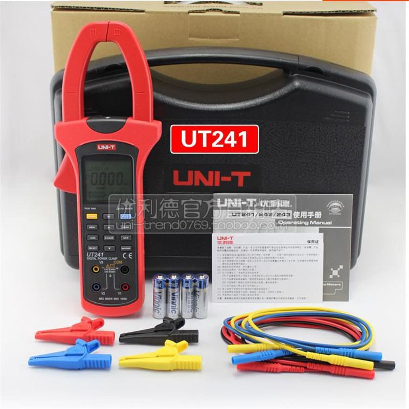 50mm Jaw size True RMS Power and Harmonics Clamp Meter UNI-T UT241  1000A Digital CLAMP Power meter UT241