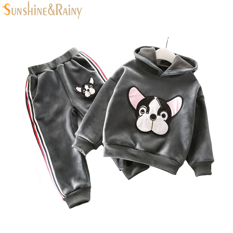 Winter Velvet Girls Clothes Sets Cartoon Kids Boys Sport Suit For Girl Long Sleeve Children Clothing Sets 2-6T autumn winter boys girls clothes sets sports suits children warm clothing kids cartoon jacket pants long sleeved christmas suit