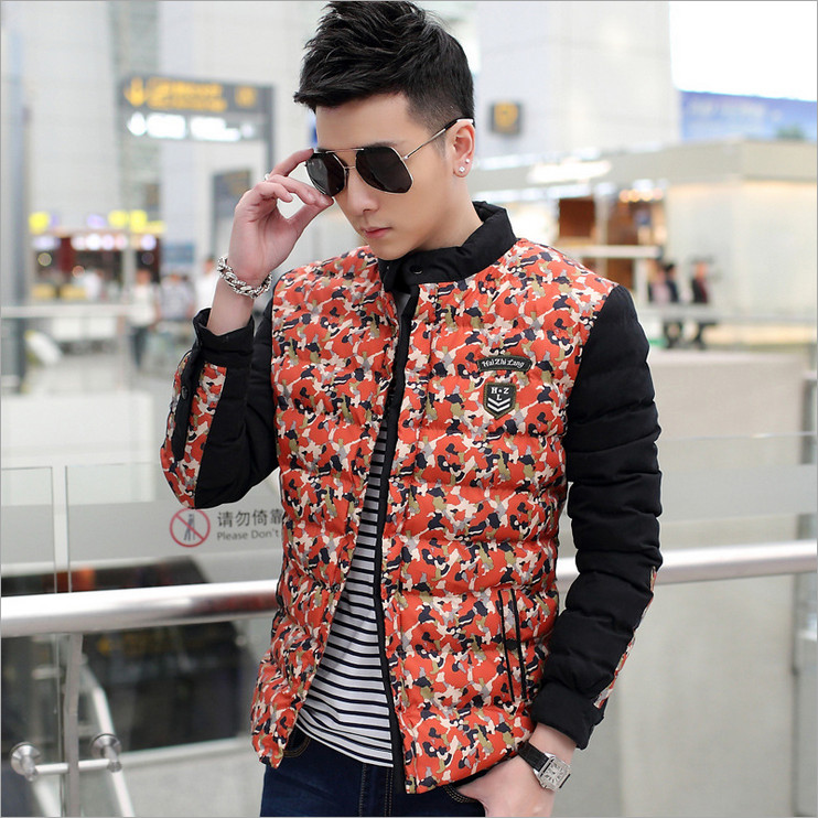 2016 men's fall and winter clothes padded camouflage adolescent students Slim short paragraph Korean men stand collar coat