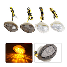 2Pcs 12V Motorcycle Turn Signal Light Clear Smoke Fit For Honda Motorcycles with 10mm mounting bolt
