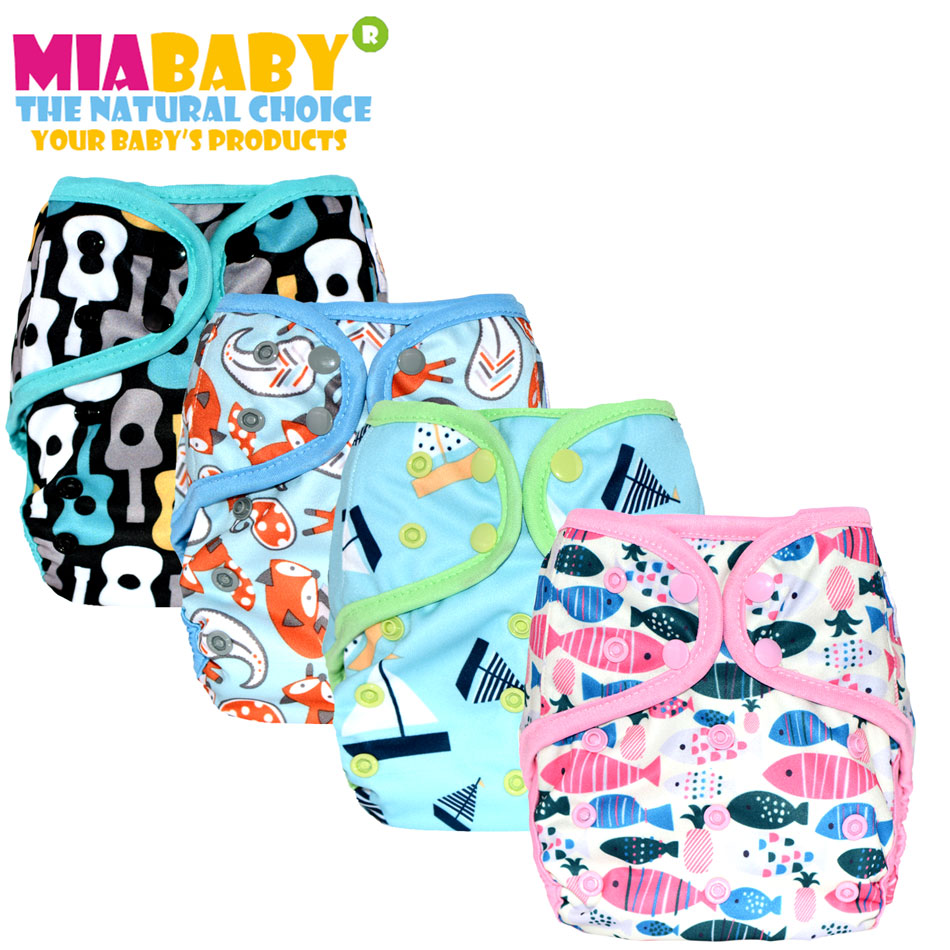 Miababy (5pcs/lot)digital custom print Onesize Cloth Diaper cover with or without bamboo cotton insert