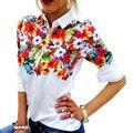 Tamaño S-XL Del Verano Mujeres de Poliéster de Impresión Ocasional Flojo de La Blusa Superior de Girasol Flor de Mariposa Ropa Camisa Debardeur Femme
