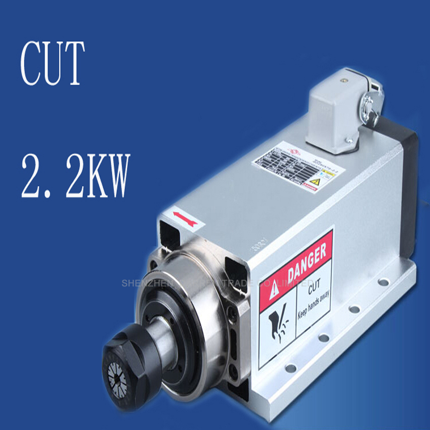 1pc Square 2.2kw  Air Cooled Spindle Runout-off 0.01mm, 220V Spindle Motor,4 Ceramic Bearing,Engraving Milling Grind  ER20 cnc 2 2kw water cooled er20 germany four bearing bearing spindle motor engraving milling grind