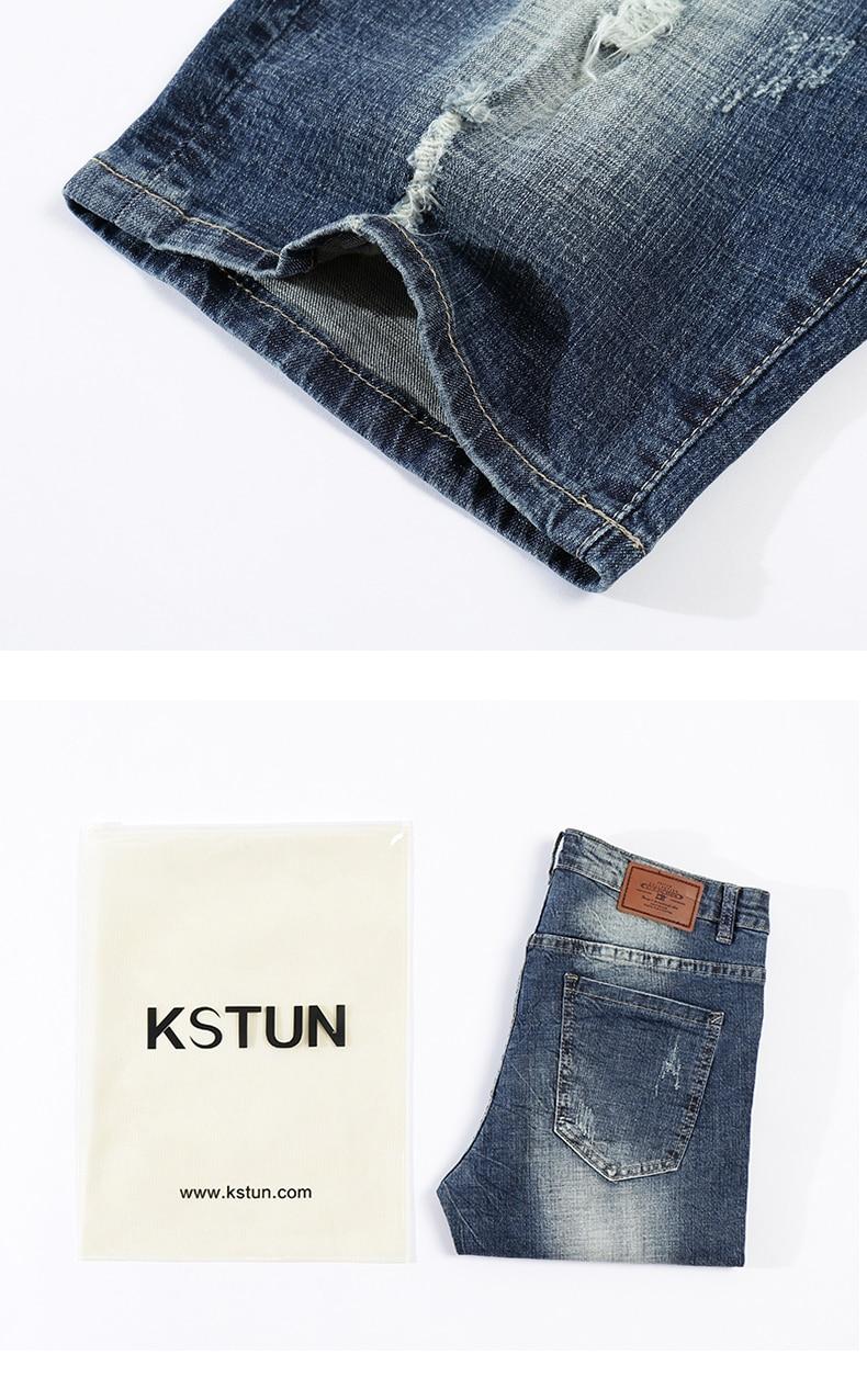 KSTUN Jeans Men Summer Shorts Stretch Dark Blue Hiphop Streetwear Biker Jeans Shorts Man Vintage Pants Ripped Slim Male Short 16