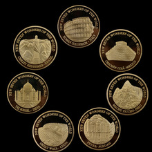 World Seven Wonders Commemorative Coin 24K Gold-plated Fine 7 Pieces/Set Home Decoration Accessories Gold Coins
