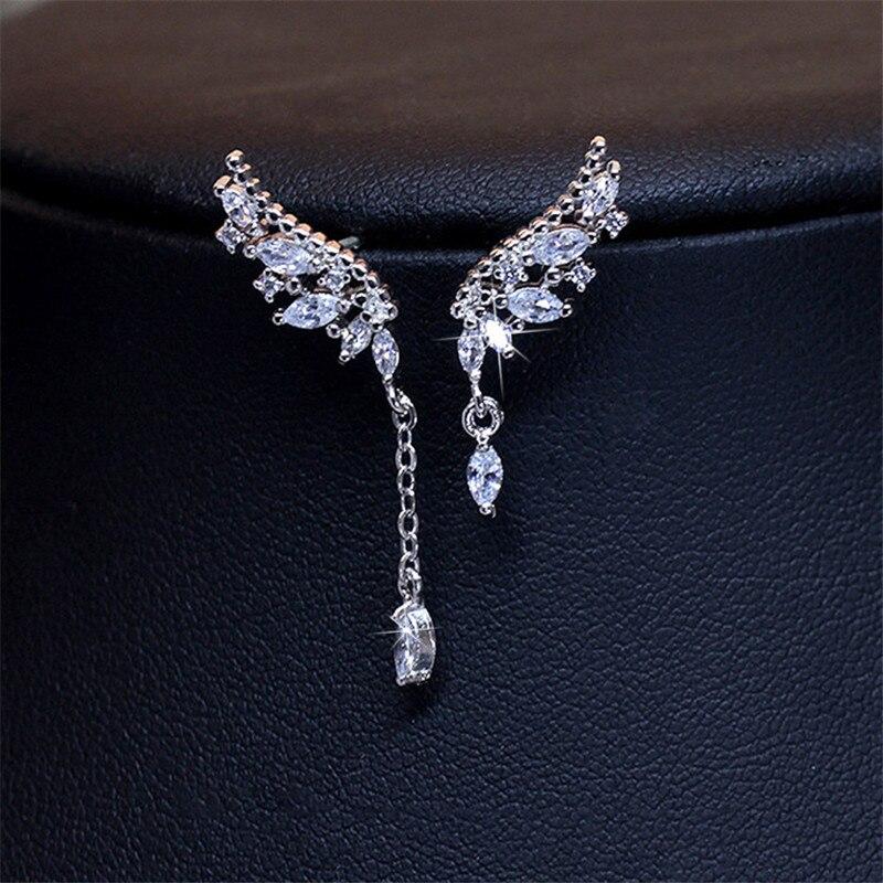 925 Sterling Silver Asymmetric Crystal Wings Drop Earrings For Women Fashion Jewelry Lady Statement Earrings Pendiente eh1137