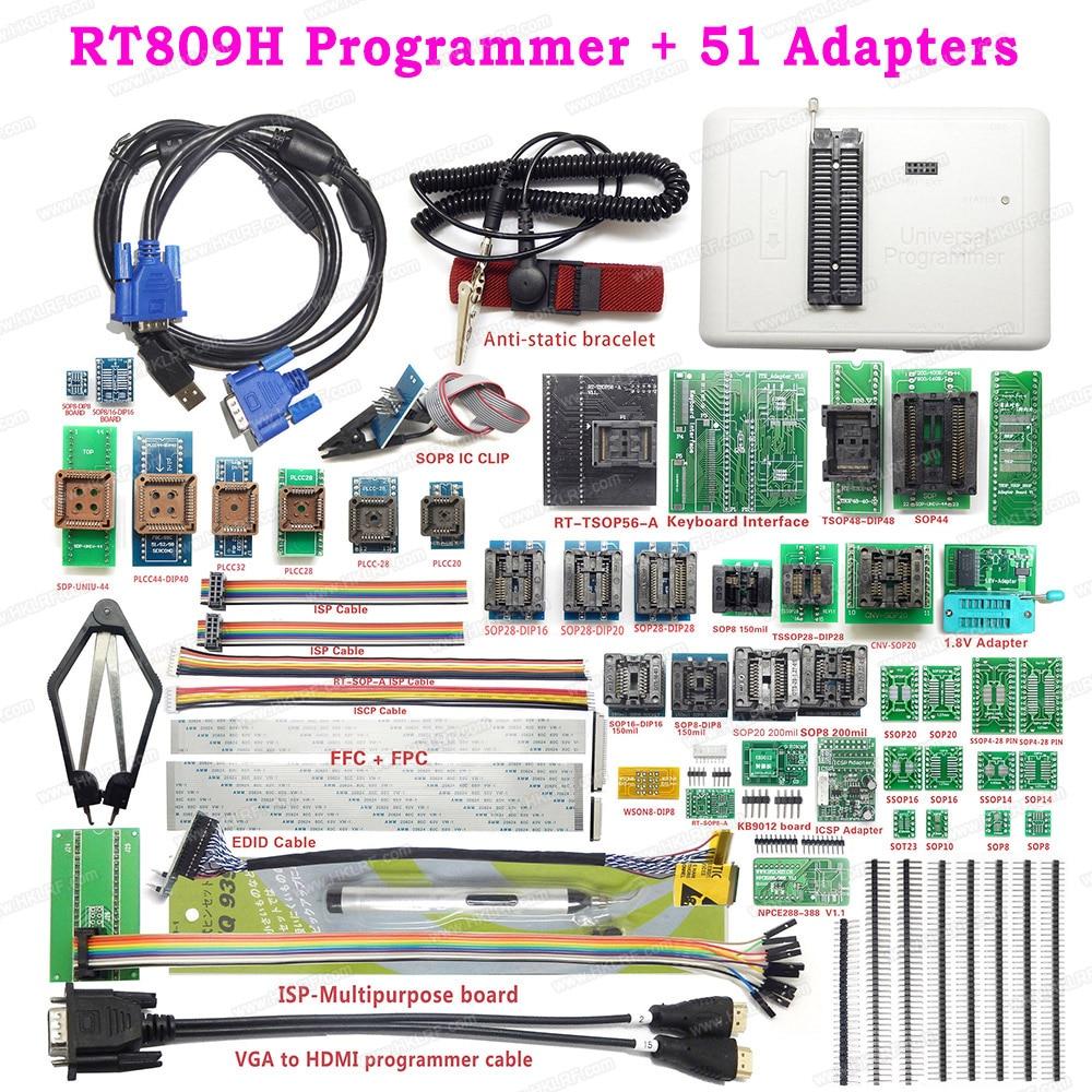 RT809H Universal USB EMMC-Nand FLASH Bios Programmer + 51 Items SOP44 TSOP48 Adapter Better Than TL866II Plus EEPROM Programmer