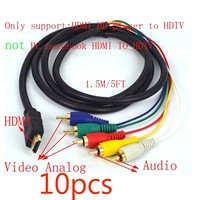 10pcs HDMI Male to 5 RCA 5 RCA RGB Audio Video AV Component Cable Gold Plated