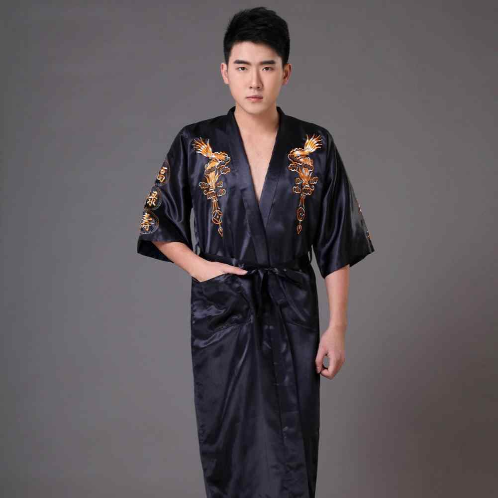 1adac32191 ... Summer Male Robe Gown Hot Sale Silk Satin Sleepwear Kimono Gown Black Chinese  Men Embroidery Dragon ...
