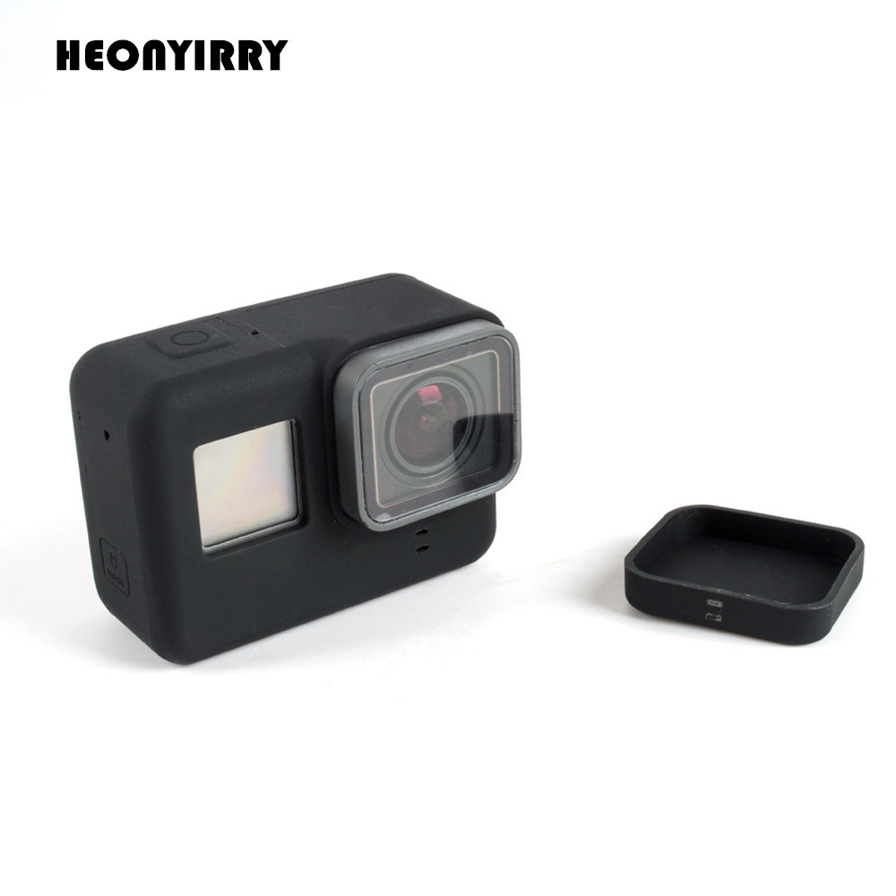 все цены на Go Pro Accessories Action Camera Case Protective Silicone Case Skin+Lens Cap Cover for GoPro Hero 5 Black Hero 6 Camera Wholesal онлайн